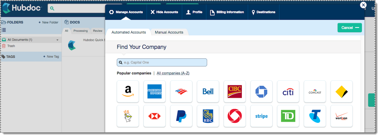 Add an Account to Hubdoc - ThinkLeader